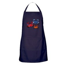 Blue & Red Mosaic Crab Trio Apron (dark)