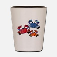 Blue & Red Mosaic Crab Trio Shot Glass