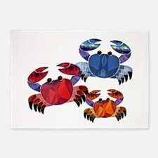Blue & Red Mosaic Crab Trio 5'x7'Area Rug