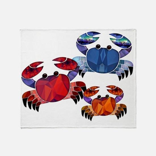 Blue & Red Mosaic Crab Trio Throw Blanket