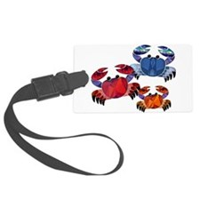 Blue & Red Mosaic Crab Trio Luggage Tag