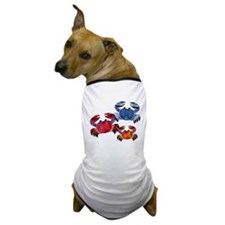 Blue & Red Mosaic Crab Trio Dog T-Shirt