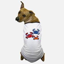Blue & Red Mosaic Crab Trio Dog T-Shirt
