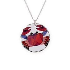 Red Mosaic Dungeness Crab Necklace