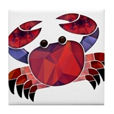 Red Mosaic Dungeness Crab Tile Coaster