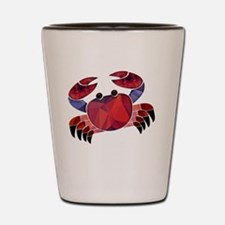 Red Mosaic Dungeness Crab Shot Glass