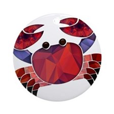Red Mosaic Dungeness Crab Ornament (Round)
