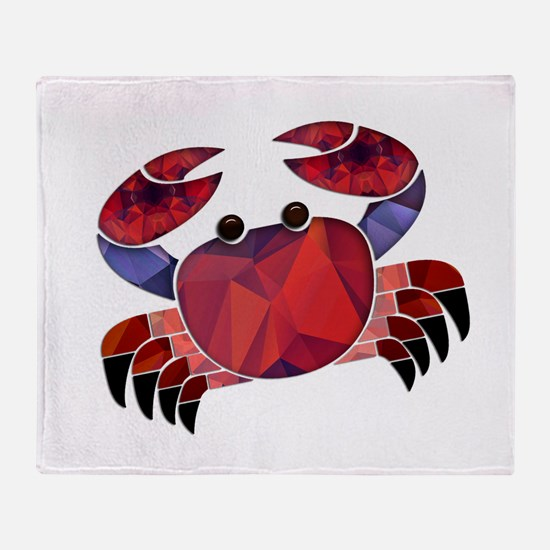 Red Mosaic Dungeness Crab Throw Blanket