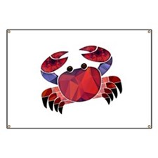 Red Mosaic Dungeness Crab Banner