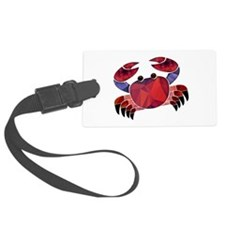 Red Mosaic Dungeness Crab Luggage Tag