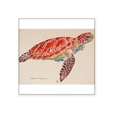 "Cute Turtle Square Sticker 3"" x 3"""