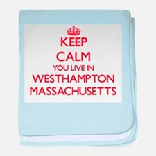 Keep calm you live in Westhampton Mas baby blanket