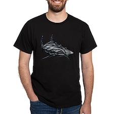 Shiny Embossed Tribal Shark T-Shirt