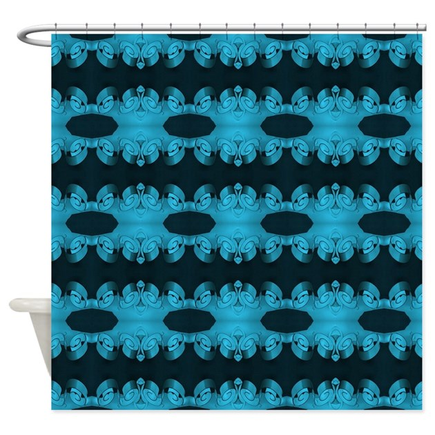 Turquoise Black Ribbons Shower Curtain By Listing Store 58985537