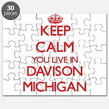 Keep calm you live in Davison Michigan Puzzle