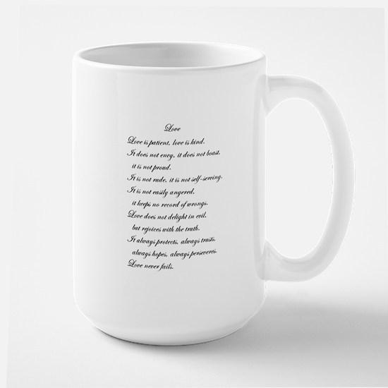 """Love is Patient"" Poem Large Mug"