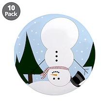 "Upside-down Snowman 3.5"" Button (10 pack)"