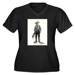 1920s Movie Cowboy Women's Plus Size V-Neck Dark T