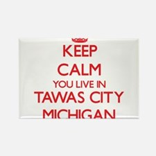 Keep calm you live in Tawas City Michigan Magnets