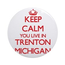 Keep calm you live in Trenton Mic Ornament (Round)