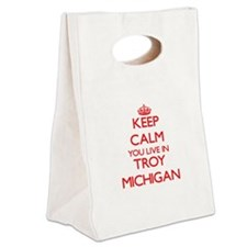 Keep calm you live in Troy Michi Canvas Lunch Tote