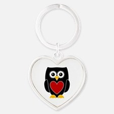 Black Owl With Red Heart Keychain