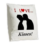 I Love Kisses Burlap Throw Pillow