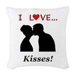 I Love Kisses Woven Throw Pillow