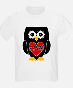 Love - Black Owl With Red Heart T-Shirt