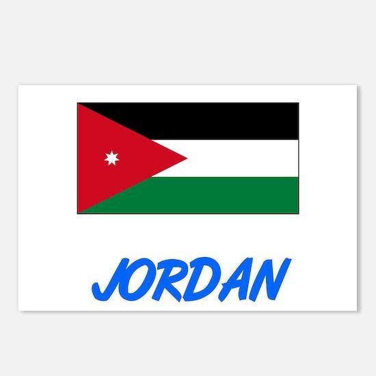 Jordan Flag Artistic Blue Postcards (Package of 8)