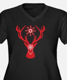 Unique Stag party Women's Plus Size V-Neck Dark T-Shirt