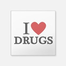 "I love Drugs Square Sticker 3"" x 3"""