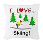I Love Skiing Woven Throw Pillow