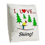 I Love Skiing Burlap Throw Pillow