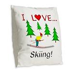 I Love Skiing Burlap Throw Pillow