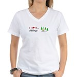 I Love Skiing Women's V-Neck T-Shirt