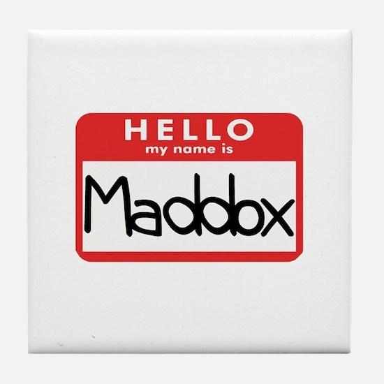 Hello Maddox Tile Coaster