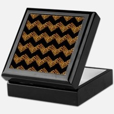black chevron leopard print Keepsake Box