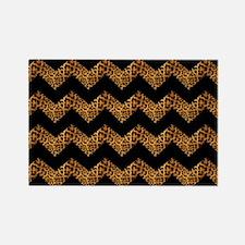 black chevron leopard print Magnets