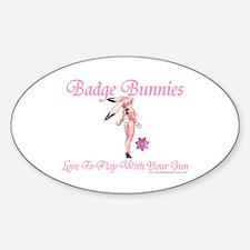 Badge Bunnies Love Guns Oval Decal