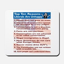 Top Ten Reasons Liberals Are Mousepad