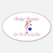 Badge Bunnies Strip Oval Decal