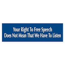 Right To Free Speech Blue Bumper Bumper Sticker