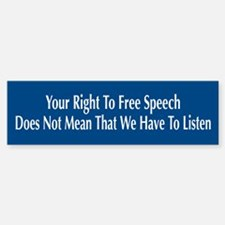 Right To Free Speech Blue Bumper Car Car Sticker