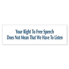 Right To Free Speech White Bumper Bumper Sticker