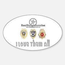 Badge Bunnies Love Them All Oval Decal