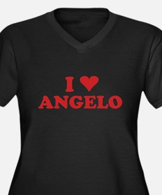I LOVE ANGELO Women's Plus Size V-Neck Dark T-Shir