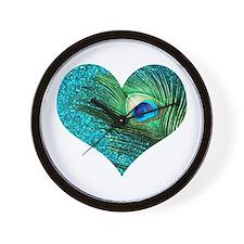 Aqua Peacock Heart Wall Clock