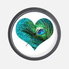 Aqua Peacock Heart Wall Clock