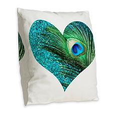 Aqua Peacock Heart Burlap Throw Pillow